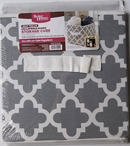 Better Homes And Gardens Collapsible Fabric Storage Cube Gray Trellis Better Homes Gardens