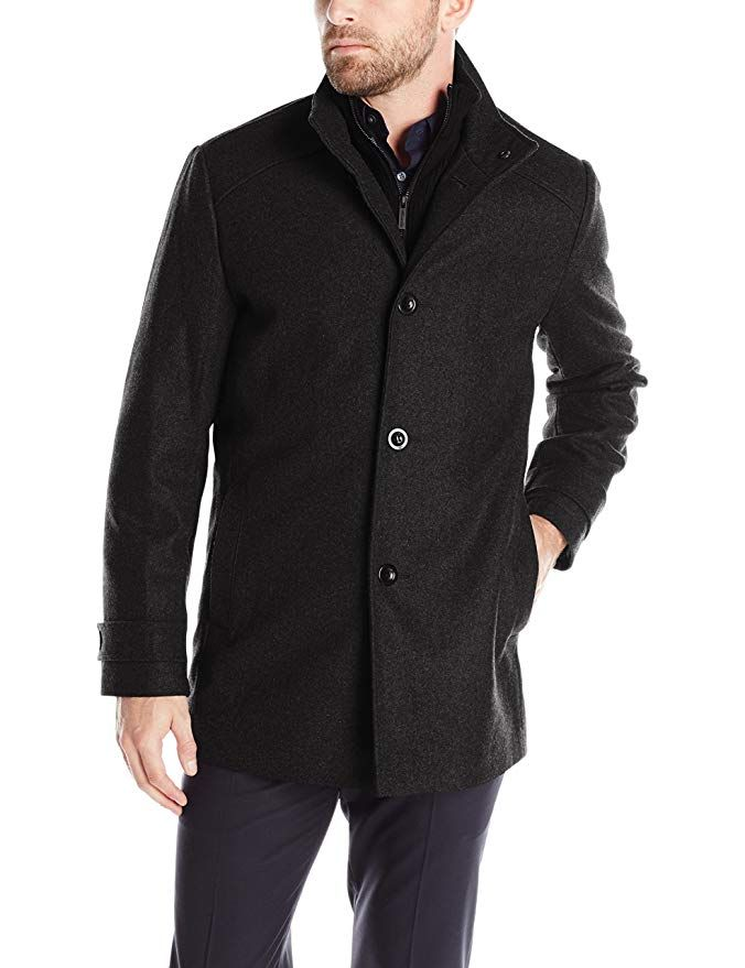Kenneth Cole New York Mens Wool-Blend Coat with Bib