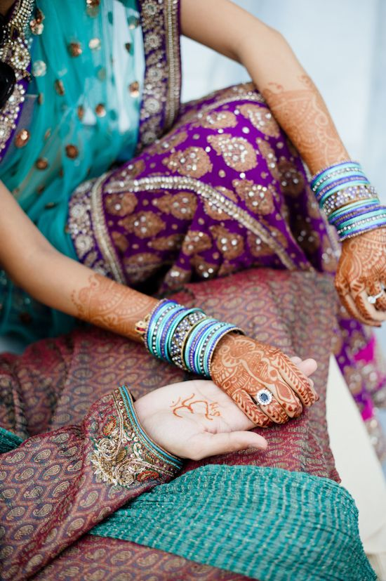lovelyHenna, Colors Combos, Indian Weddings, Purple, Pattern, Color Combos, Brides, Beautiful, Teal