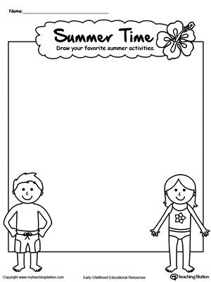 Drawing Summer Activities Printable Worksheet Drawing Coloring