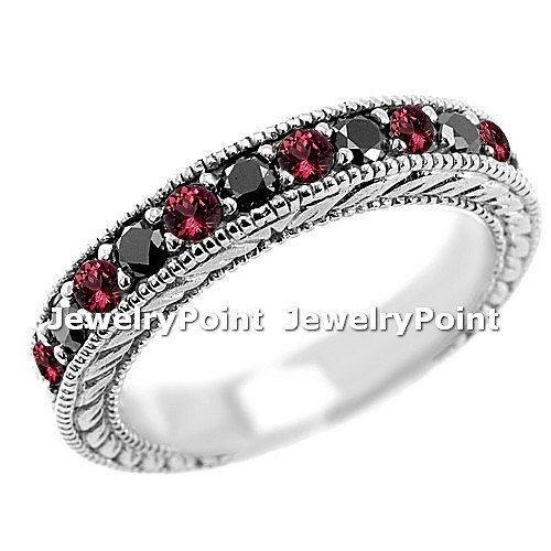 0.80ct Black Diamond  Red Ruby Wedding Ring Band 14k Gold Vintage Antique Style