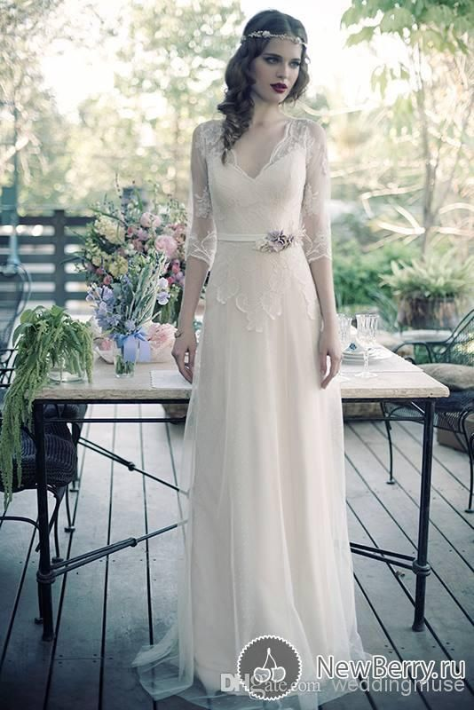 2014 Simple Beach Sheath Sheer V-neck Lace Half Sleeve Elegant Bridal Gowns Flower Sash Tulle Custom Made Casual Wedding Dresses DL1312142