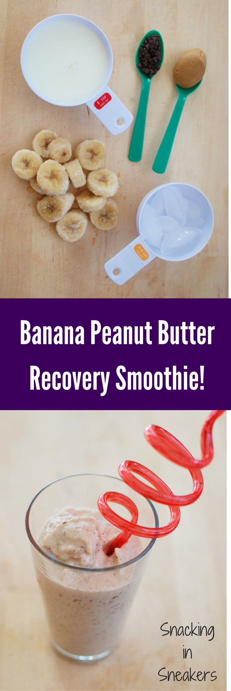 Banana peanut butter smoothie!  Perfect recovery snack after a long run or ride.  Only 5 ingredients and delicious.  Provides carbs + protein for your recovery needs.