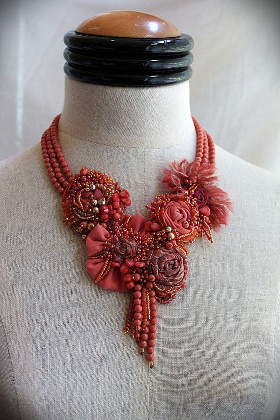 CORAL REEF Mixed Media Beaded Textile Bib by carlafoxdesign