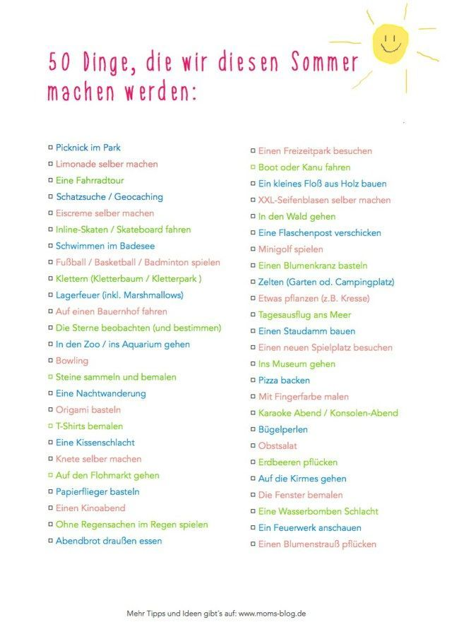 50 Dinge, die wir diesen Sommer mit den Kids machen werden – Das Elternhandbuch