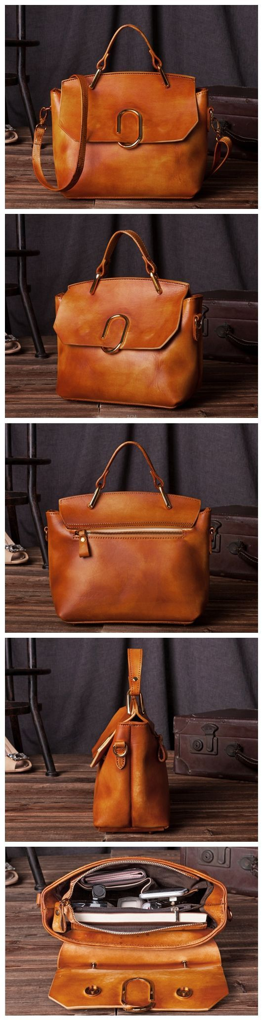 Handcrafted Women Modern Fashion Leather Tote Bag Handbag Shoulder Bag Messenger C204 Overview: Design: Vintage Vegetable Tanned Leather Tote In Stock: 4-5 days For Making Include: Only Tote Bag Color