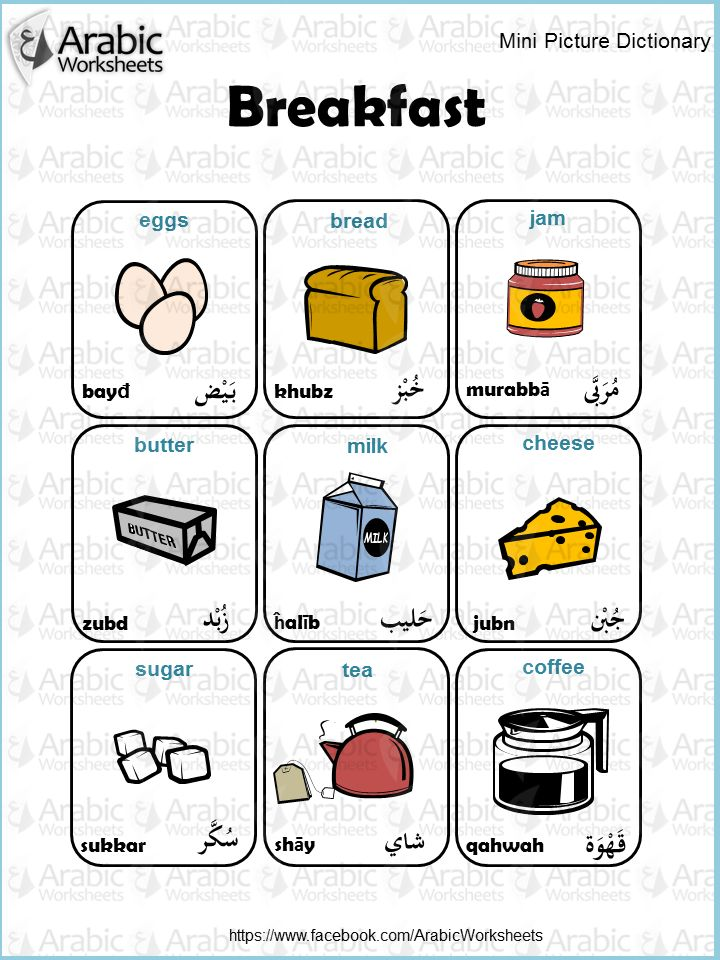 Arabic/English Picture Dictionary- Breakfast
