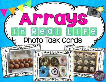 Array Photo Task Cards (Arrays in Real Life)- This set of 20 task cards provides photographed examples of real life uses for arrays. Great for small group math centers, whole class scoot games, or math tubs! $