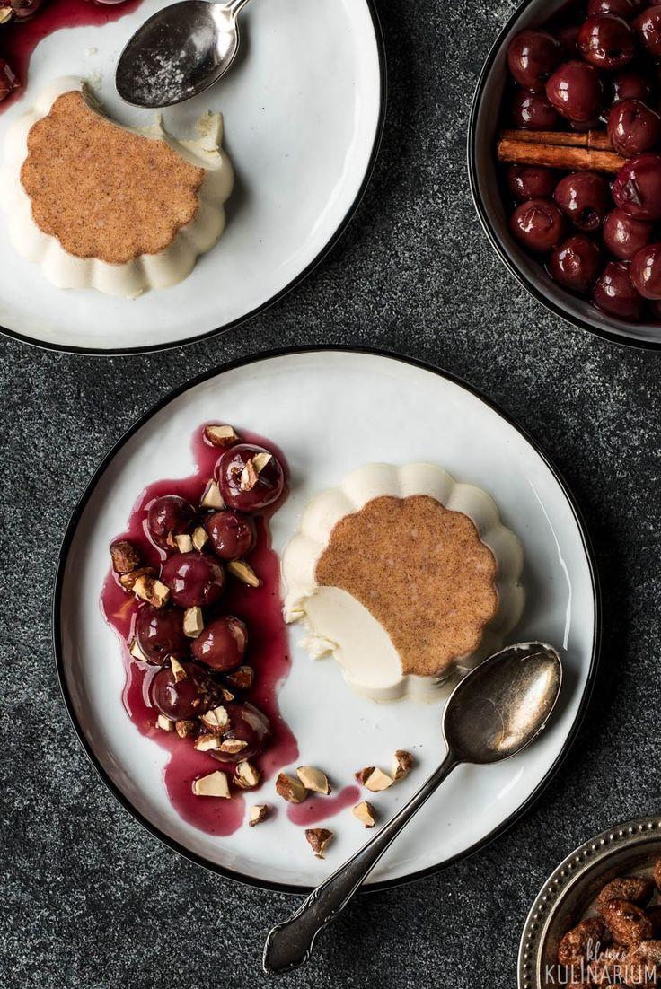 Zimt Panna Cotta Mit Gluhweinkirschen Kleines Kulinarium Panna Cotta Einfacher Nachtisch Nachspeise