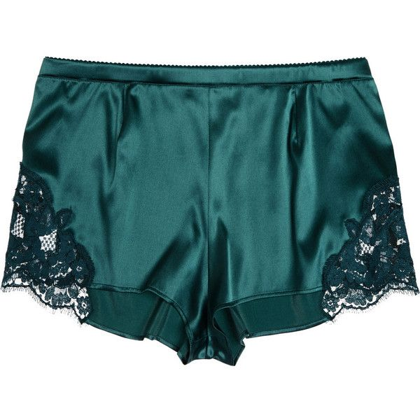 Lace-trimmed stretch-silk satin shorts ($110) ❤ liked on Polyvore featuring intimates, panties, shorts, lingerie, underwear, bottoms, dolce&gabbana, satin lingerie, dolce gabbana lingerie and underwear lingerie