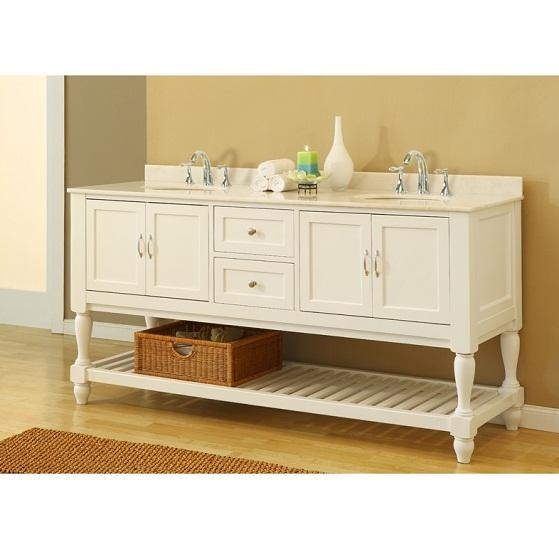 Vancouver (double) 70 Inch White Bathroom Vanity White Marble Top