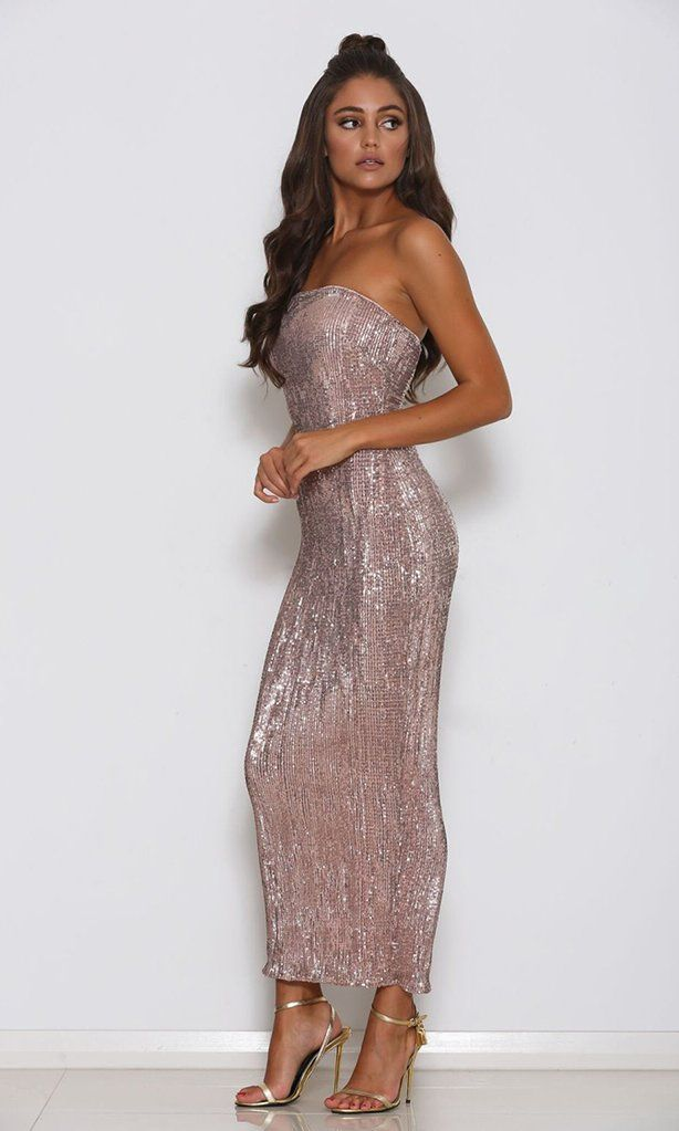 0e687d224 Envy This Champagne Sequin Strapless Tube Midi Dress - Sold Out | Fashion | Sequin  midi dress, Dresses, Formal dresses