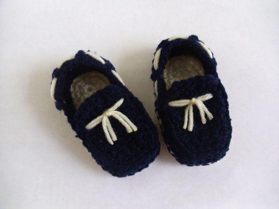 Navy with cream marine baby boy crocheted loafers by KaelestisCrochet
