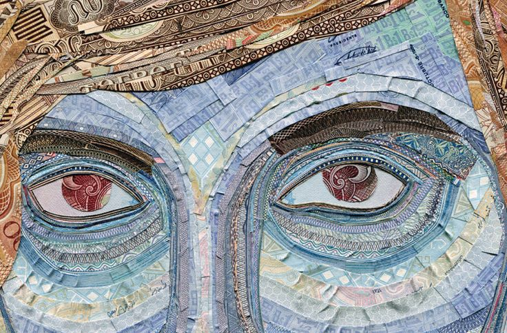 """Using thin strips of dissected currency from around the world, Chinese creative firm Senseteam (website currently down) has composed a series of portraits for a book and poster series entitled Big Business 3 meant to """"reflect the subtle relationships and influences across money, desire,"""