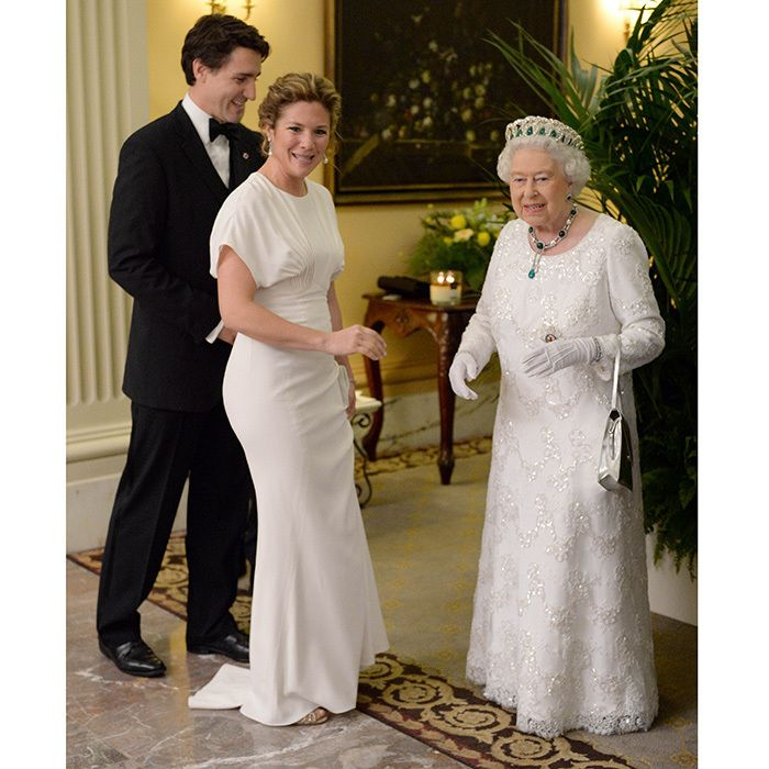 Sophie and the Queen had a twinning moment in floor-length white gowns as they were reunited in Malta in November 2015 just days after first meeting at Buckingham Palace. Sophie's red carpet-worthy Zac Posen gown had fashionistas swooning, and she kept the look simple with pearl-drop earrings and a bejewelled clip in her hair. <br><p>Photo: © Andrew Parson/I-Images</p>