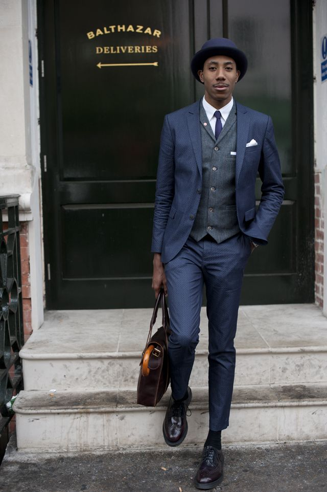 Street-Style-London-2.jpg (640×962)  La Touche snapped by Best Dressed Man On The Planet at LC:M day 1 wearing Violet Bowler hat: Atelier Millinery Suit: River Island Shirt: Lacoste Waistcoat: River Island Tie: Topman Satchel: Dr Martens Shoes: Dr Martens Umbrella: Vintage