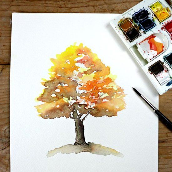 How to paint a Autumn tree