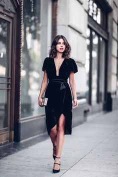 black velvet dress.