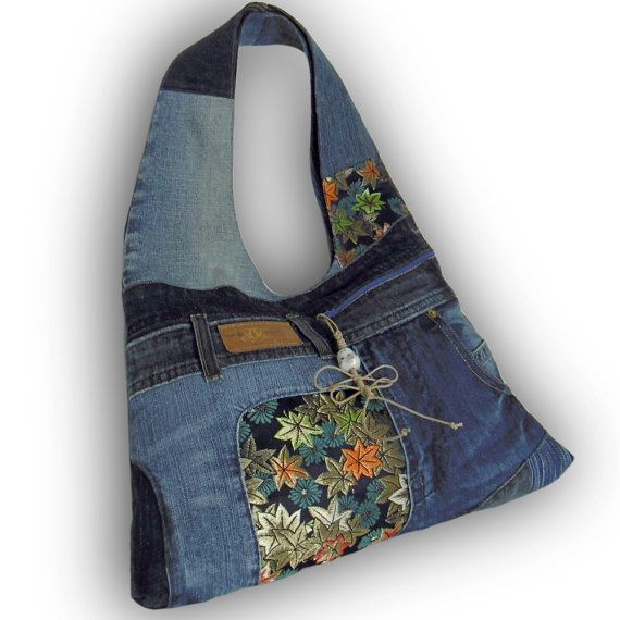 Recycled Old Jeans, Japanese Obi & Hand-dyed Indigo Fabric Hobo Bag - Japonism Jeans bag