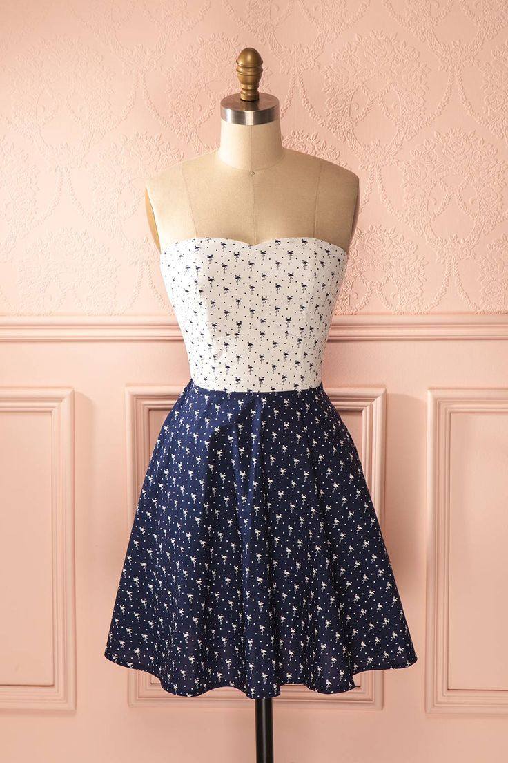 Flamine - Navy blue and white patterned bustier dress