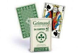 Cartes de bridge Grimaud Éco (vert) - Pokeo.fr - Jeu de 54 cartes Grimaud Éco en carton plastifié, au format bridge double index, dos vert.