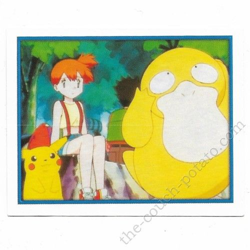 Pokemon Sticker Card  Misty Psyduck Pikachu Brock # 163 2x3 inches Merlin 2000 TV show pictures