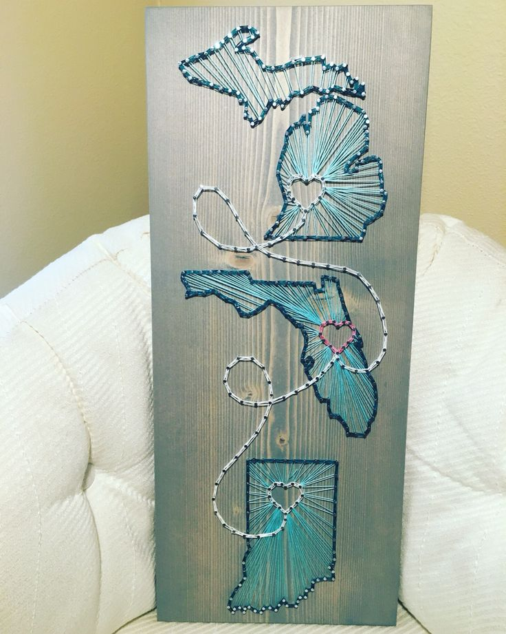 Three State/Country string art, , Michigan, Indiana, Florida, wedding/anniversary art - order from KiwiStrings on Etsy! www.KiwiStrings.etsy.com