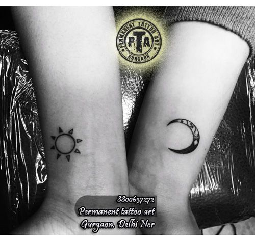 Sun and moon tattoo design for couple, couple tattoo Sun tattoo, Sun tattoo design design, sun tattoo design on side wrist, sun tattoo design for girls, Moon tattoo design, moon tattoo design for girls, arm tattoo design, moon tattoo on arm, moon tattoo with design, artistic moon tattoo design  Done by -Deepak Karla 8800637272   AT- Permanent tattoo art, Gurgaon Delhi/NCR