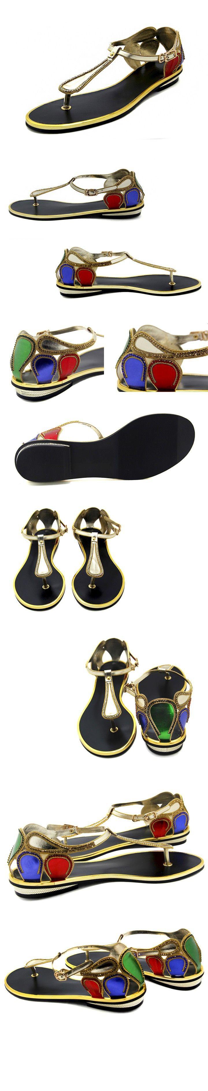 Diseñadores de la marca chanclas mujeres Casual sandalias de diamantes de imitación 2015 colores mezclados estilo zapatos de mujer de verano Flip zapatillas planas en Sandalias de las mujeres de Calzado en AliExpress.com   Alibaba Group