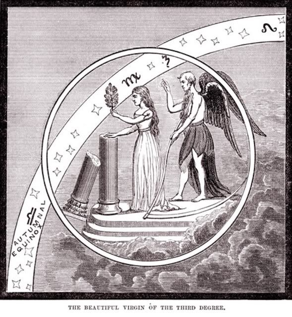 "Desaguliers' Code | The Quarry Masonic Forum.  The broken pillar is the missing penis of Osiris, also represents all lost erections.  The ""virgin"" is Osiris's mother/lover Isis, and Cronos/Saturn/Set, the killer of Osiris, is behind her..."