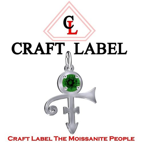1 Ct Green Emerald Round PRINCE Singer Artist Peace Symbol UNISEX Pendant - Death Anniversary 21st April. Starting at $1