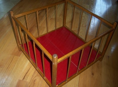 Playpen - back in the day!  I'm 60 now, and mine looked exactly like this.  I don't think it was even new when Mother used it