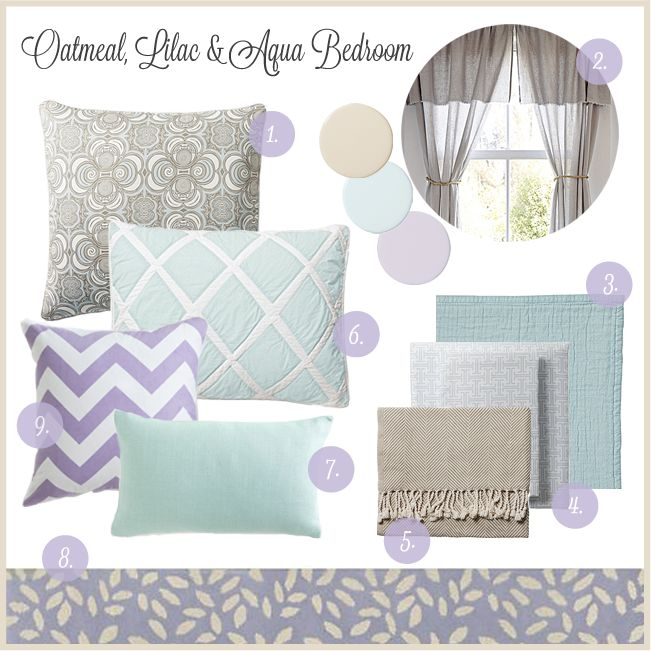 Monday Mood Board - Aqua, Lilac, & Oatmeal Bedroom — Heather B design