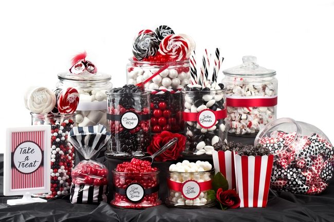 Red,Black & White Candy Buffet