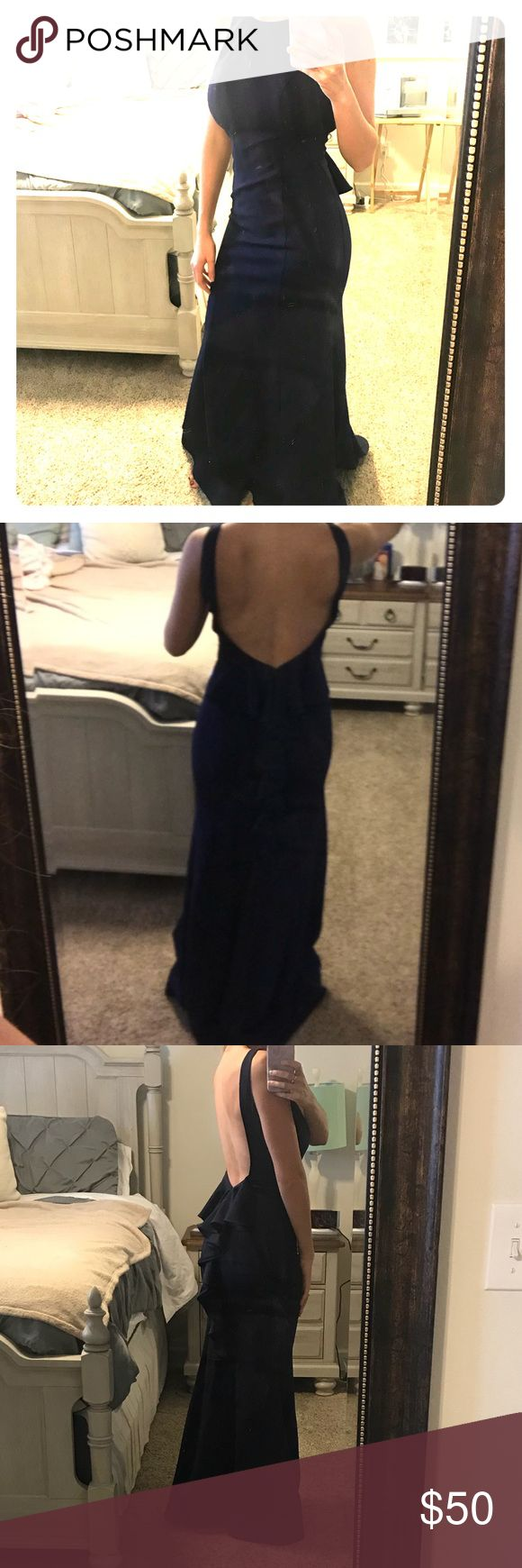 Navy Gown Gorgeous navy gown with open back and built in bra padding — worn only once to a Gala. Size 3. Excellent condition. I'm 5'6 about 125 lbs and this fits me like a glove. Macy's Dresses Backless