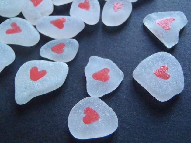 Girandole & Sonagli - san valentino vetri di mare bianco cuori rosa - un prodotto unico di LaSoffittaDiSte su DaWanda