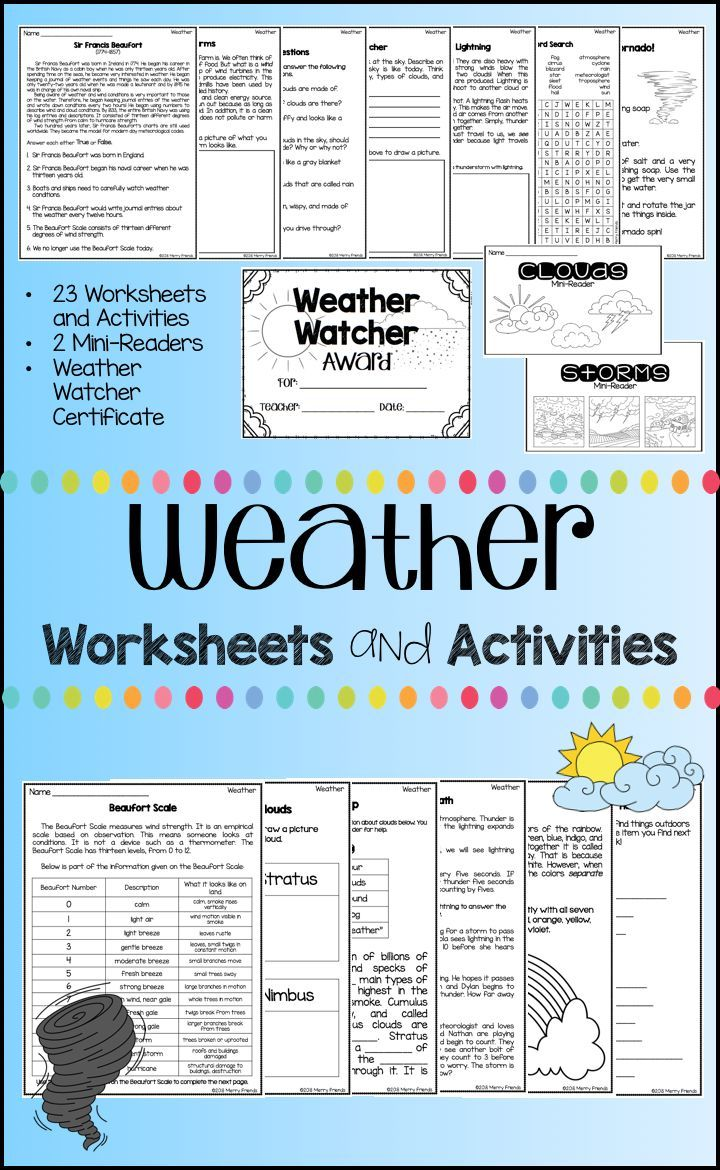Weather Worksheets and Activities   Weather worksheets [ 1170 x 720 Pixel ]