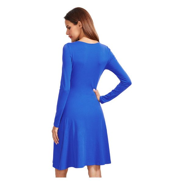 Royal Blue V Neck Long Sleeve Ruched Dress (24 BAM) ❤ liked on Polyvore featuring dresses, long sleeve v neck dress, blue dress, gathered dress, ruching dress and electric blue dress