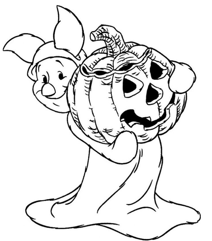 piglet halloween coloring pages for preschool printables - Halloween Coloring Books