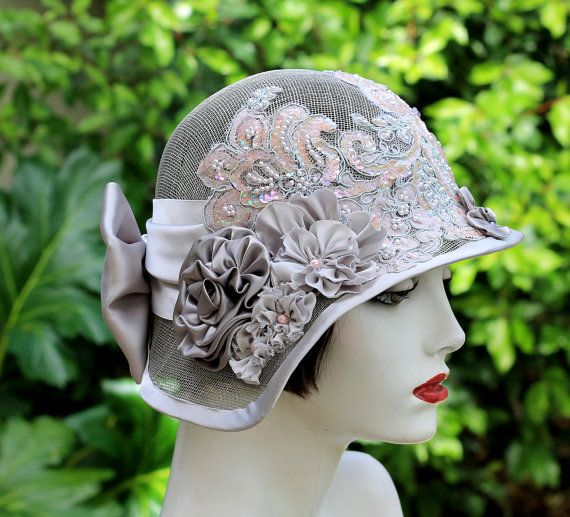 Summer Cloche 1920s Style Sinamay Beads Sequins Pearls Weddings Special Event High Tea Party