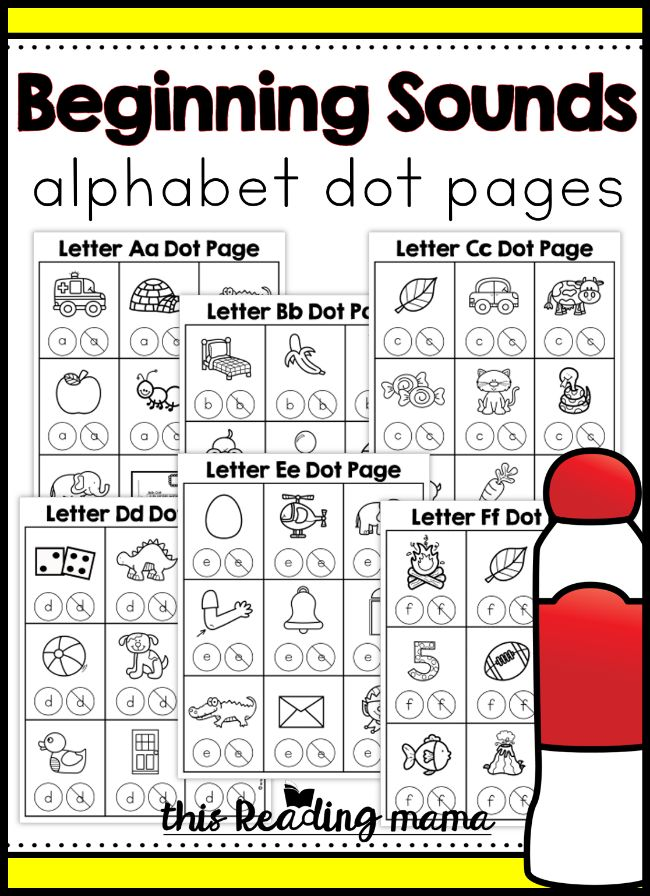 Beginning Sounds Alphabet Dot Pages Word Study
