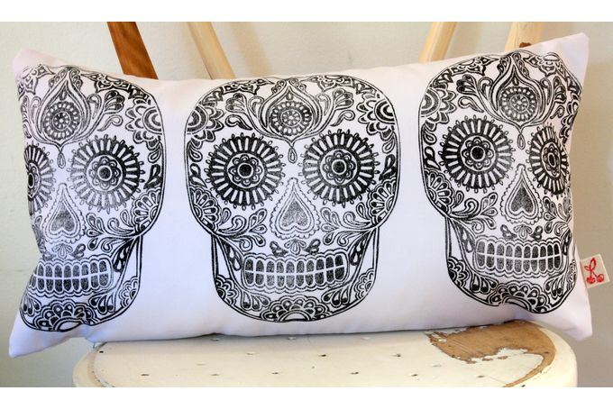 Sugar skull hand block printed lumbar decorative scatter cushion cover in beige by Kerry Cherry Designs and Prints