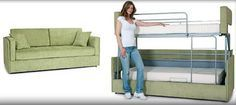 New sofa converts into bunk beds in a few seconds | RV Travel---This would be awesome in homes too!!!!!