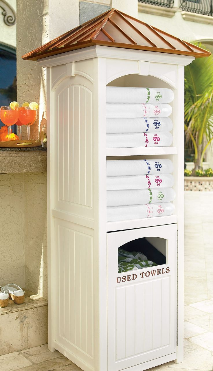 Best 25 pool towel storage ideas on pinterest for Outdoor pool bathroom ideas