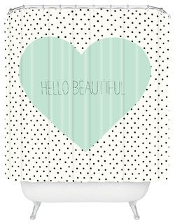 Allyson Johnson Hello Beautiful Heart Shower Curtain - Eclectic - Shower Curtains - by DENY Designs