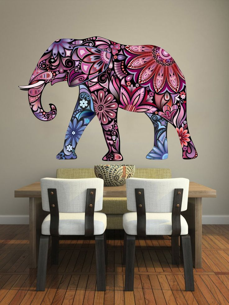 Elephant Wall Decals Full Color Elephant Colorful Floral Patterns Mandala Flowers Wall Vinyl Decal Stickers Bedroom Nursery