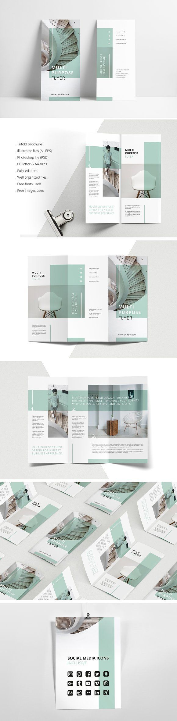 MINT Multipurpose Trifold Brochure by AgataCreate on @creativemarket Printing brochure template with one of the best creative design and great cover, perfect for modern corporate appearance for business companies. This layout is modern, simple and feminine; have a good inspiration or grab some ideas.