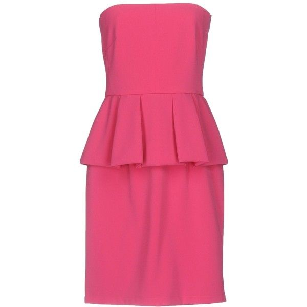 Moschino Cheap And Chic Short Dress (405 LYD) ❤ liked on Polyvore featuring dresses, fuchsia, pink mini dress, sleeveless swing dress, short dresses, deep v-neck dress and fuschia pink dress