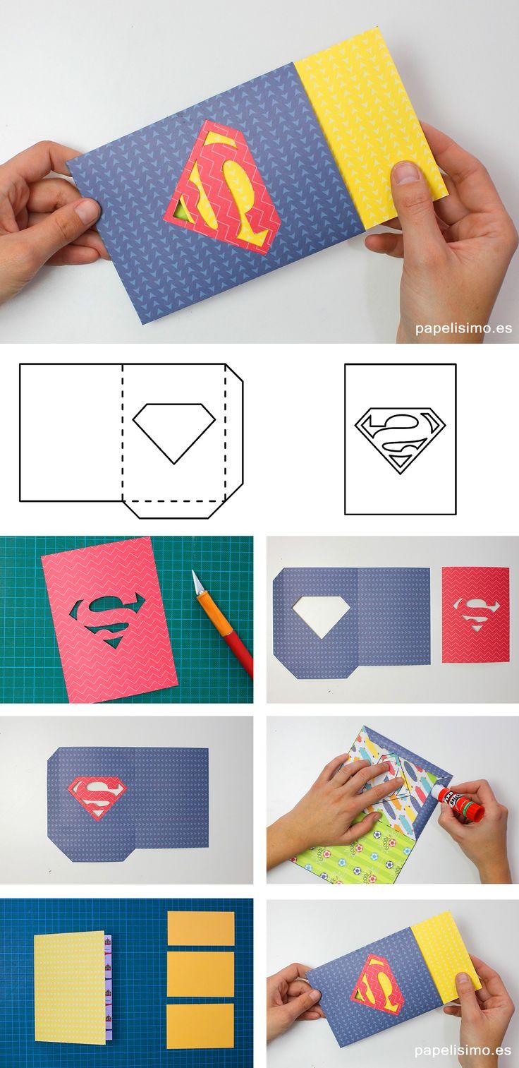 para todos los niños su papá y mamá son súper héroes, por eso no se me ocurre mejor idea para regalar el Día el Padre o el Día de la Madre que esta tarjeta con el logo de Superman
