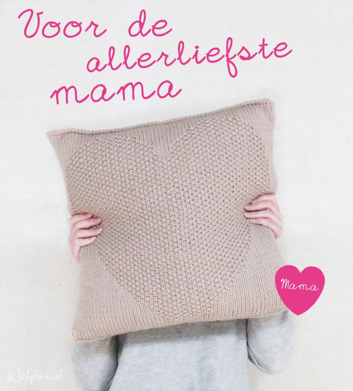 Kussen breien met hart - GRATIS patroon - wolplein.nl